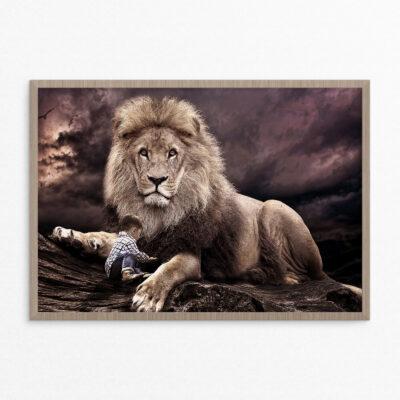 Plakat, fantasi, løve dreng