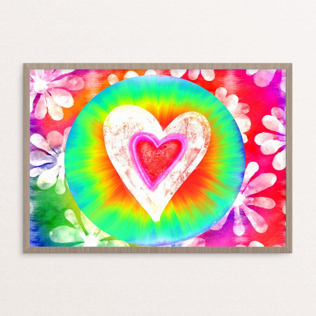 Plakat, hippie, hjerte
