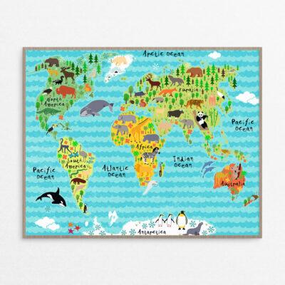 billig Plakat, børn, verdenskort bølger