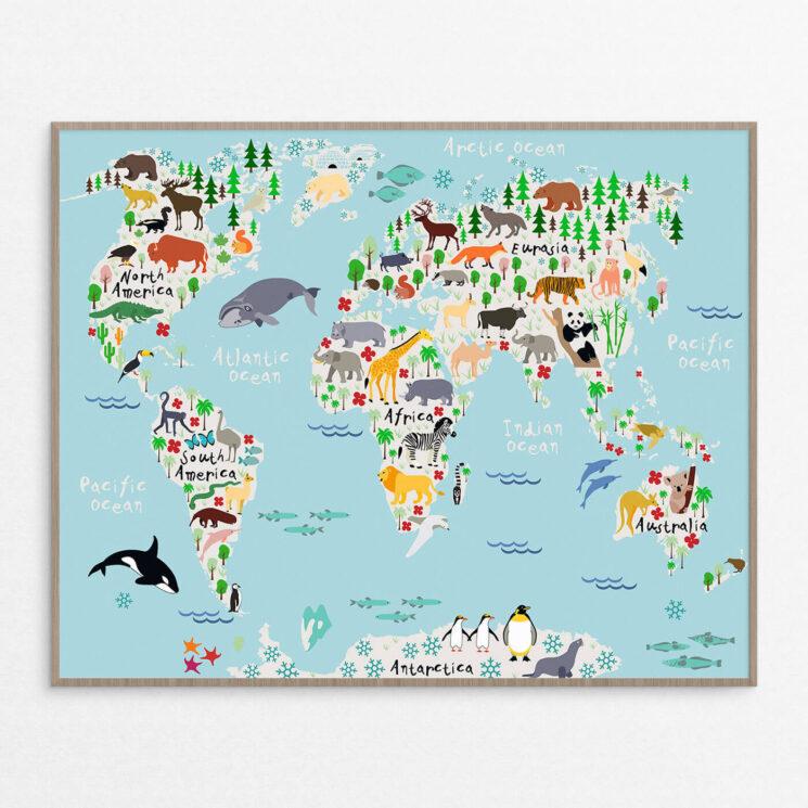 billig Plakat, børn, verdenskort blå