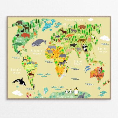 billig Plakat, børn, verdenskort gul