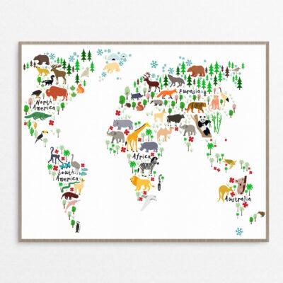 billig Plakat, børn, verdenskort hvid