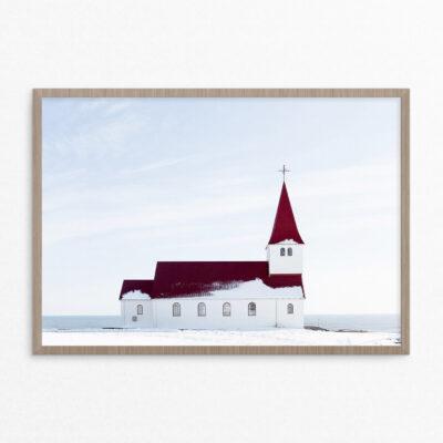 Plakat, kirke, sne, hav
