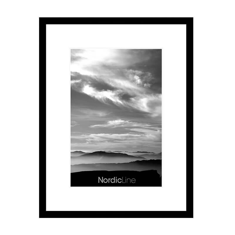 Ramme_Slim_Nordic_Line_Sort_A3, billig plakat, citat, sort hvid